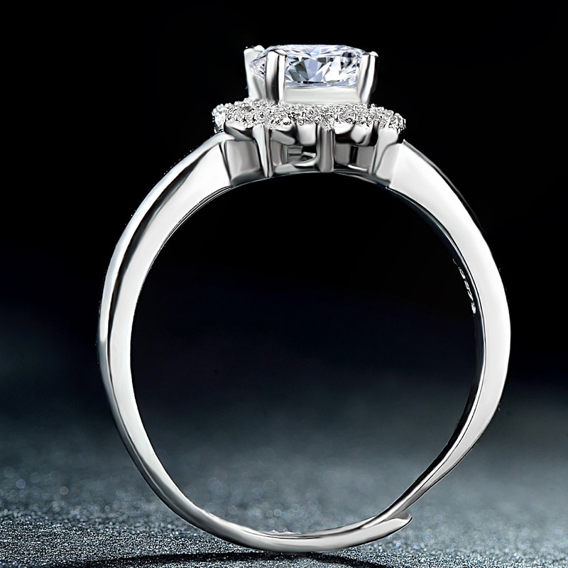 Nice Sweet S925 Silver Inlaid Cubic Zirconia Engagement