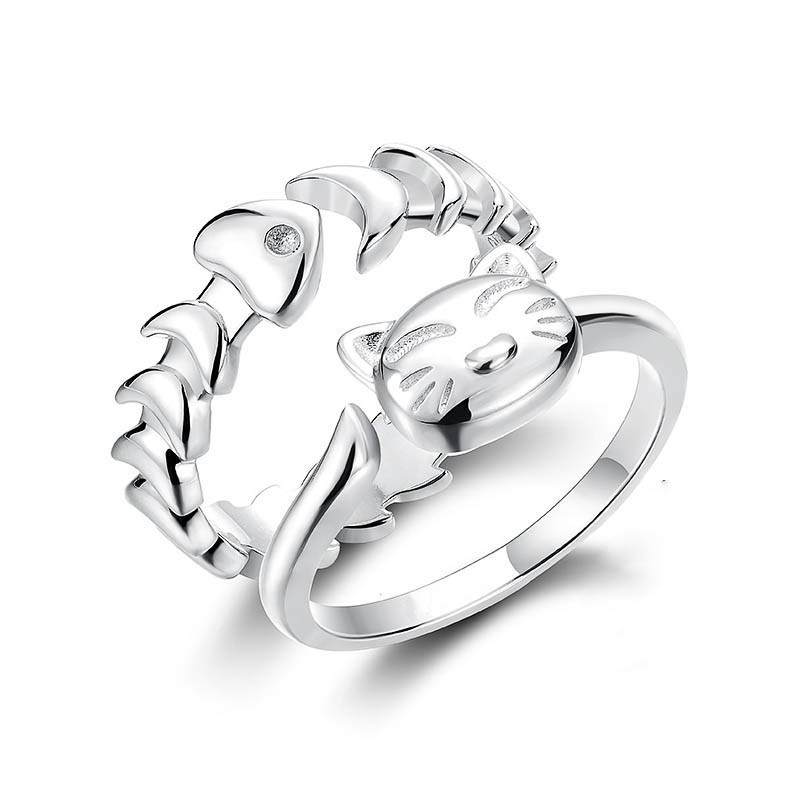 child online cute silver product for simple hot selling cheap sterling ring girl gifts cat rings korea women