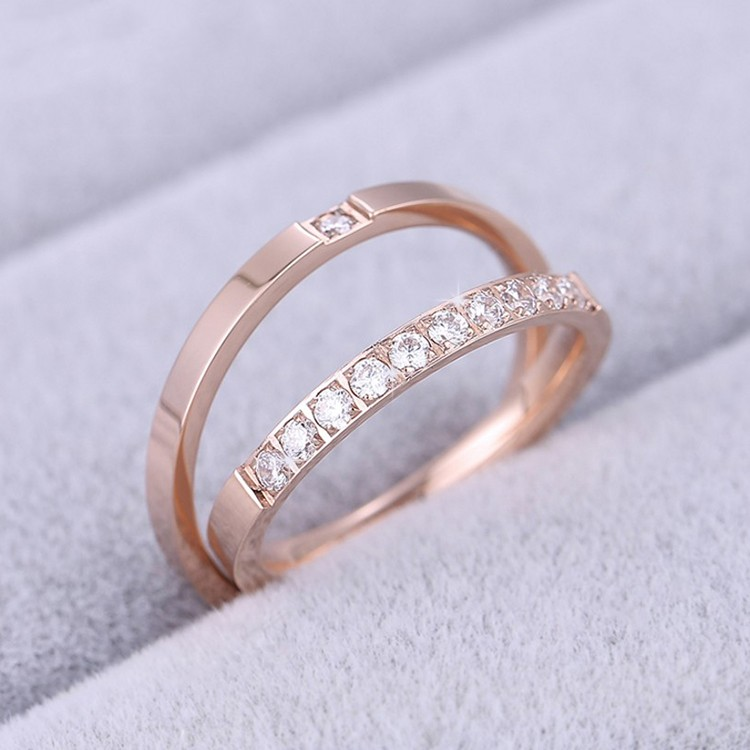 Korean Fashion Plated 18K Rose Gold Titanium Steel Couple ...
