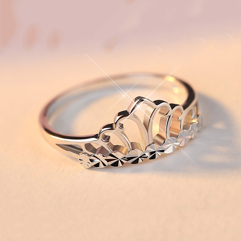 Sterling Silver Simple Crown Design Sweet Woman\'s Ring