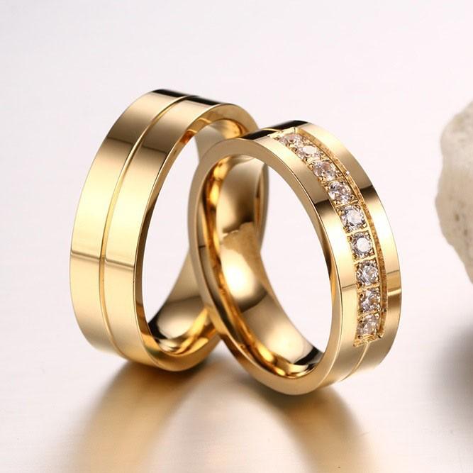 Korean New Titanium Steel Inlaid Cubic Zirconia Golden Couple