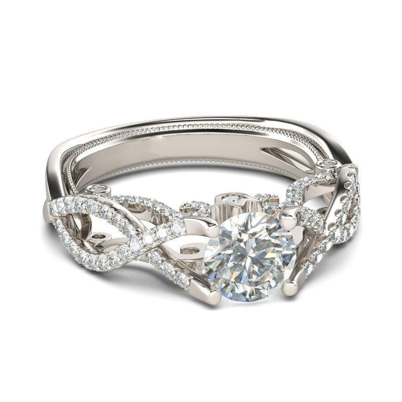 Unique Twist Style Brilliant Cut Created White Shire Rhodium Plating Sterling Silver Engagement Ring