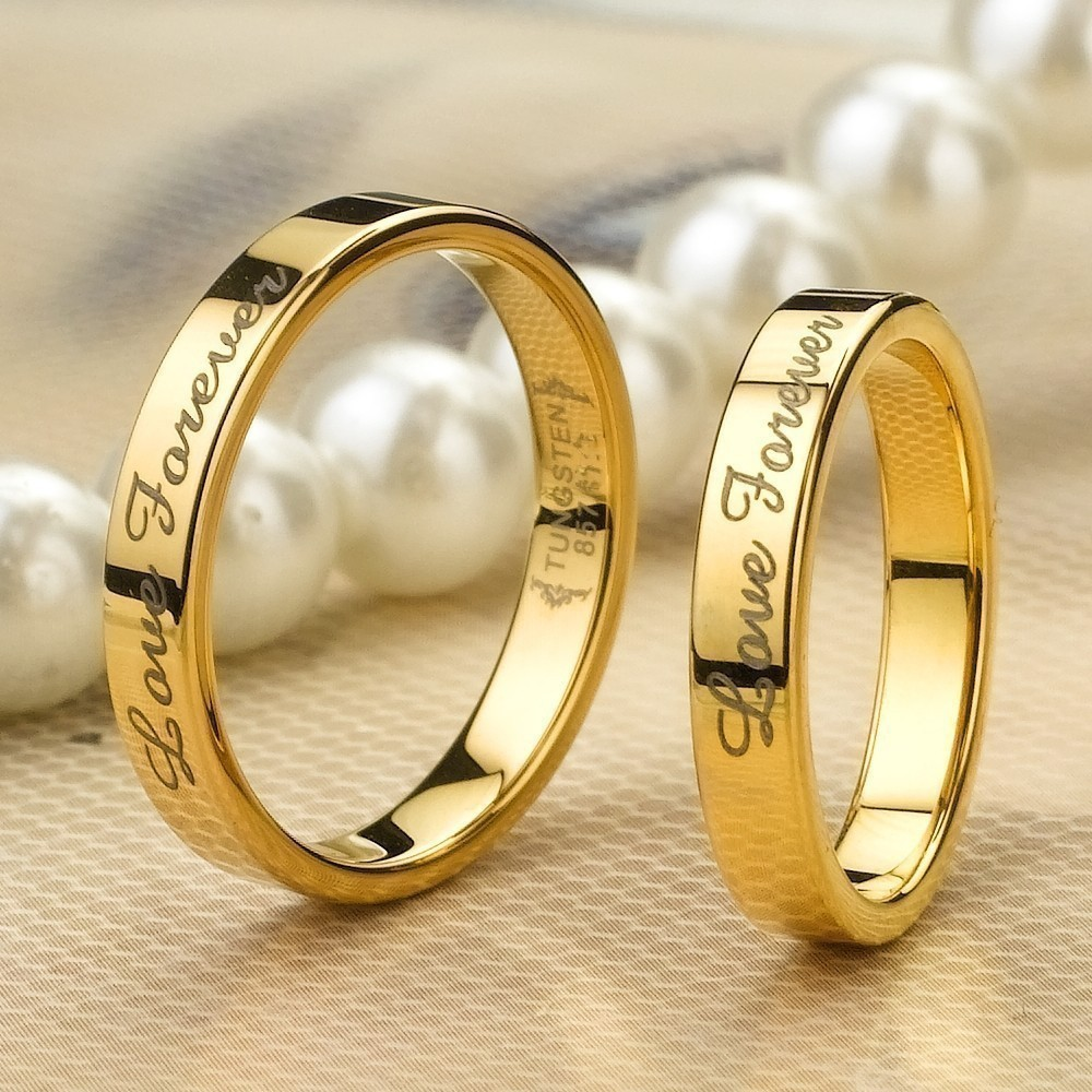 Love Forever Gold Tungsten Lover Rings For Couples (Price ...