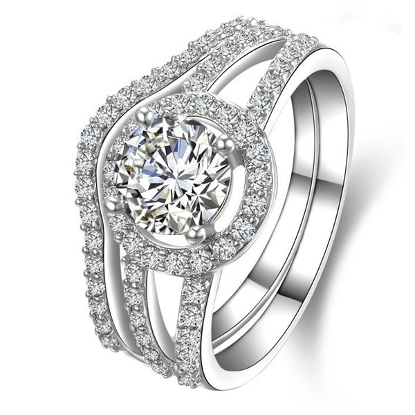 Exquisite 925 Sterling Silver Emulation Diamond Engagement Ring