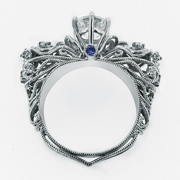 luxury retro baroque style 925 sterling silver engagement ring