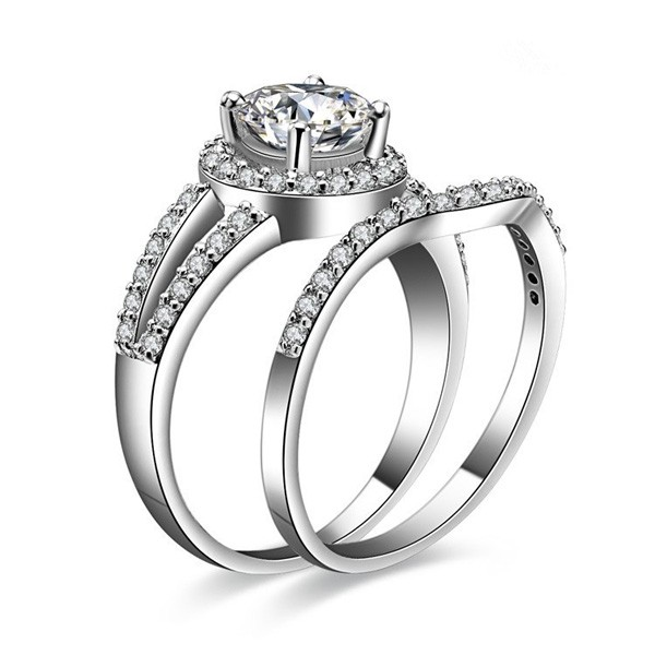 Exquisite 925 Sterling Silver Emulation Diamond Engagement Ring Set