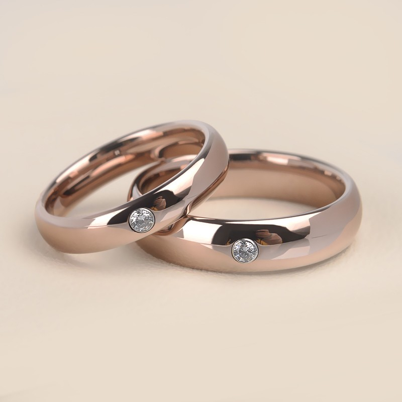 Simple Rose Gold Tungsten Promise Rings For Couples