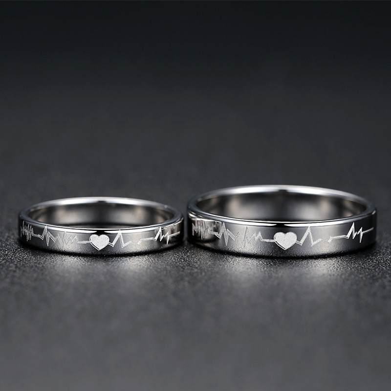 d700e8b756 Simple Heartbeat 925 Sterling Silver Couple Rings