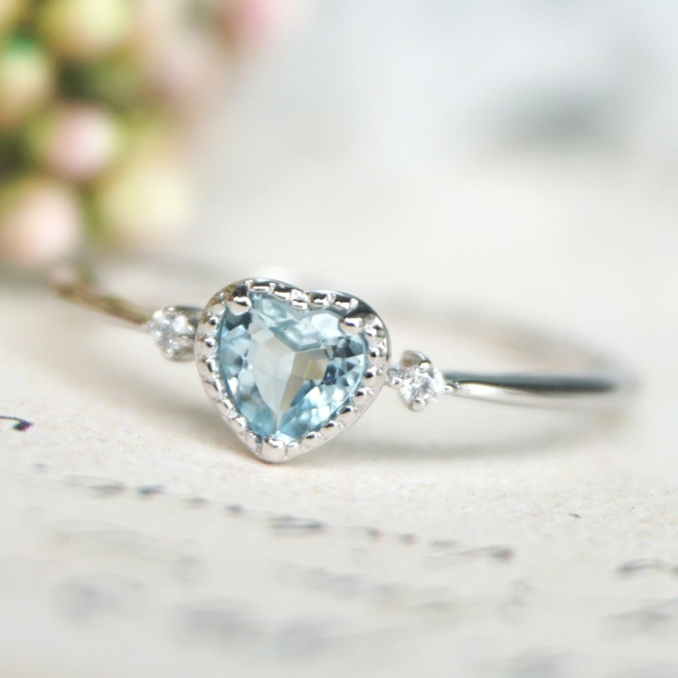 Gold Plated 925 Sterling Silver With Heart Blue Zircon Ring