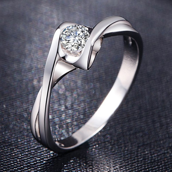 Romantic 925 sterling silver cz inlaid heart shaped engagement ring romantic 925 sterling silver cz inlaid heart shaped engagement ring junglespirit Gallery