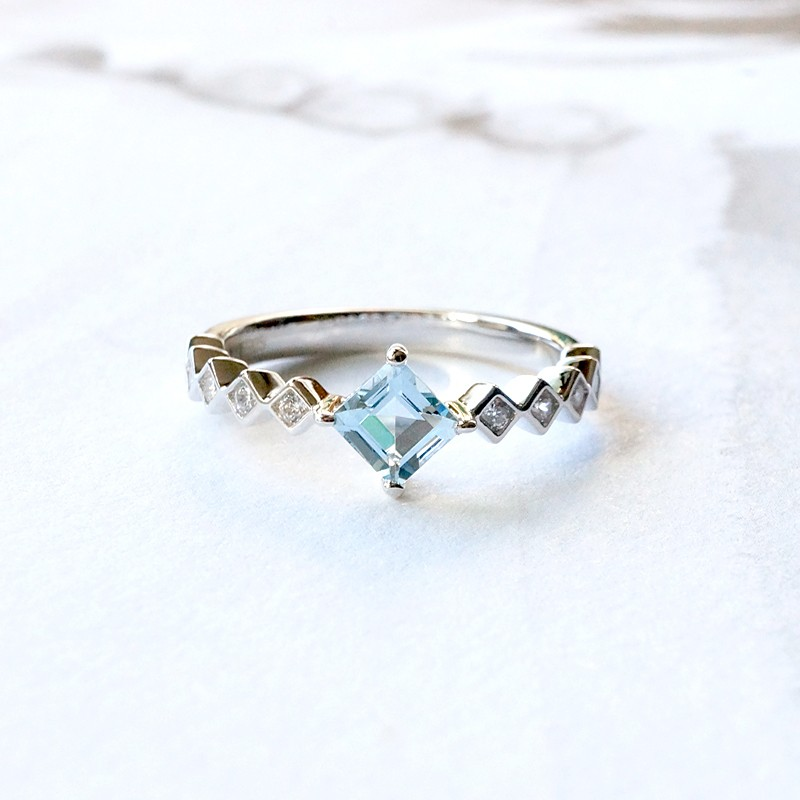 Aquamarine Silver Ring Natural Organic Blue Beryl Sterling Silver Gold Plated Jewelry 9030
