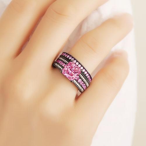 black wedding ring set prevnext - Black And Pink Wedding Rings