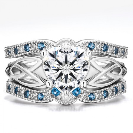 Exquisite 925 Sterling Silver Blue CZ Engagement Ring Set