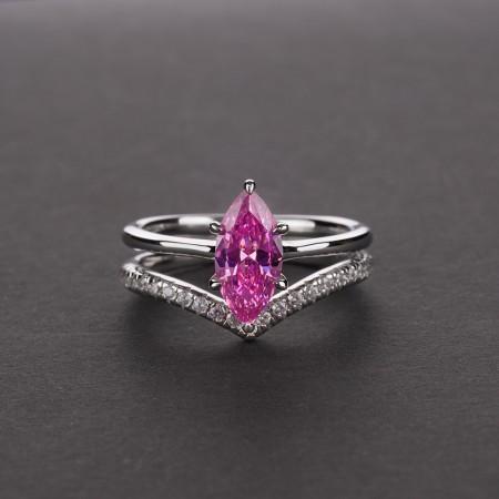 Super Flash Artificial Sapphire Promise Ring Set
