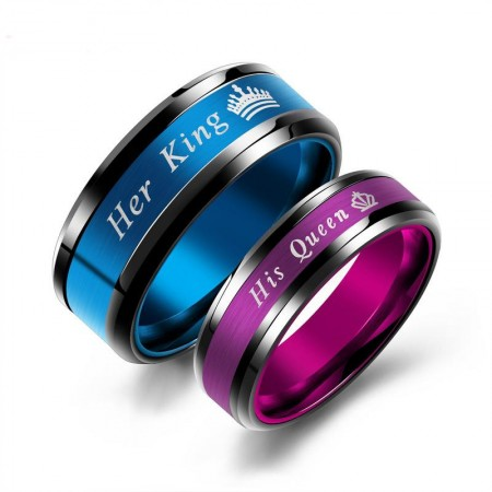Hot New Purple His Queen And Blue Her King Promise Rings For Couples (Price For a Pair)