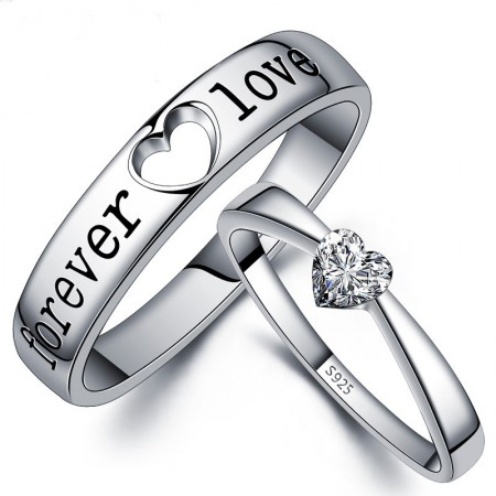 "New Fashion ""forever love"" Heart Shape Unique 925 Sterling Silver Lover's Heart Couple Rings (Price For a Pair)"