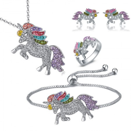 2019 Fashion Cartoon Cute Unicorn Valentine's Day Gift Rings Necklaces Earrings Bracelets