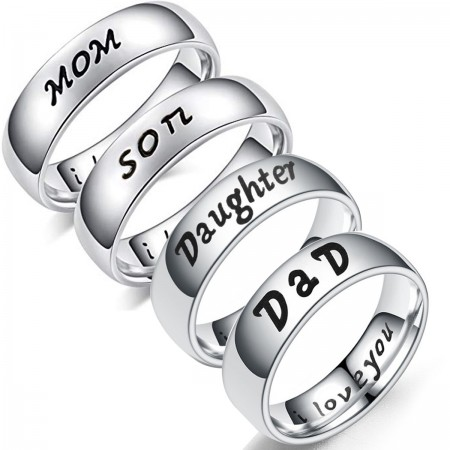 Mom Daughter Son Dad I Love You Titanium Rings (Price for a Pair)