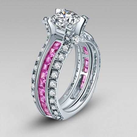 White and Pink Cubic Zirconia 925 Sterling Silver White Gold Plated Wedding Ring Set in La Cathedrale Style