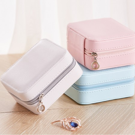 New Jewelry Box Organizer - Women Display Storage Case PU Leather Jewelry Holder with Zipper for Earring Ring Necklace Bracelet