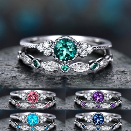 Simple And Stylish Purple Green Blue Pink Lake Blue Zircon Ring Woman Alloy Sapphire Ring Set