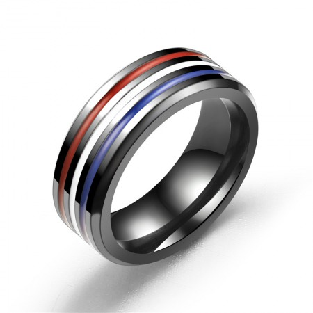 Personalized Stainless Steel Rainbow Men's Rings