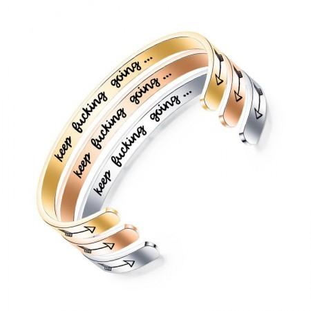 Double Arrow Bracelet Titanium Steel C-shaped 6mm Keep Bucking Going Bracelet