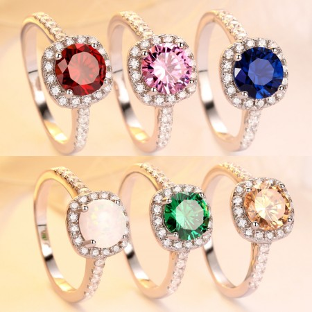 Red Blue Orange Pink Green Opal Cubic Zirconia S925 Sterling Silver Promise/Wedding/Engagement Ring