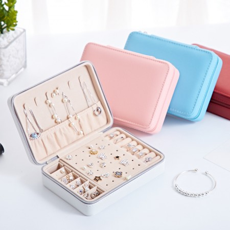 High Quality Jewelry Box Organizer - Women Display Storage Case Large PU Leather Jewelry Holder with Zipper for Earring Ring Necklace Bracelet