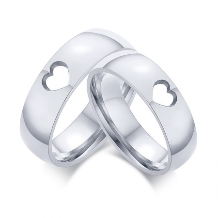 Matching Couple Rings Hollow Heart-Shaped Wedding Promise Ring Set for Him and Her