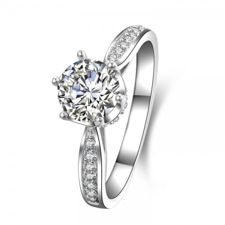 Luxury Fire Color 925 Sterling Silver Inlaid 2ct CZ Engagement Ring