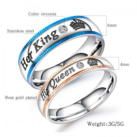 Her King His Queen Stainless steel Rose gold plated Couple Rings (Price For a Pair)