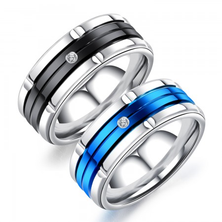 Black and Blue 8mm Men's Titanium Ring Wedding Band Cubic Zirconia CZ Sizes 7 to 11