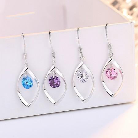 Pink Blue Purple White Earrings for Women Girlfriend Sterling Silver Dangle Earrings Jewelry Gifts for Christmas Anniversary