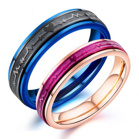 New Fashion Heartbeat Titanium Steel Couple Rings