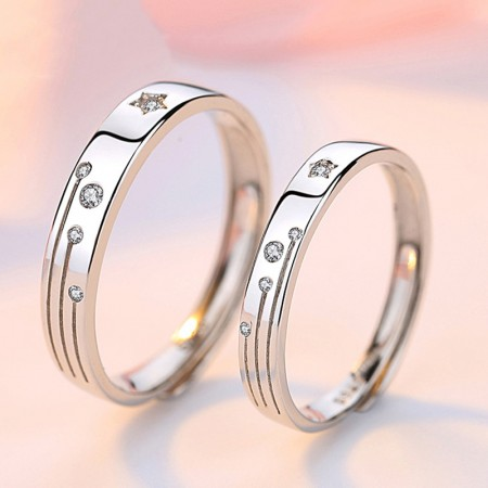 Meteor Shower Promise Rings For Couples In 925 Sterling Silver Adjustable Couple Rings