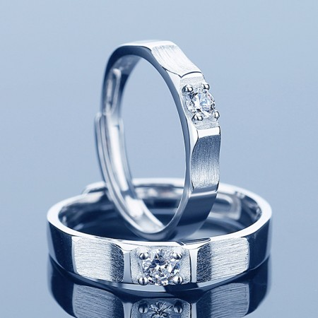 Adjustable Promise Rings For Couples In 925 Sterling Silver Couple Rings