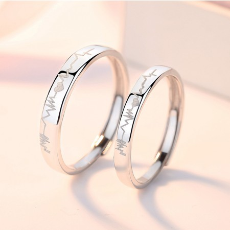 Heartbeat Promise Rings For Couples In 925 Sterling Silver Adjustable Couple Rings