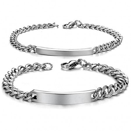 Personalized His and Hers Stainless Steel ID Couple Bracelets (Price For A Pair)