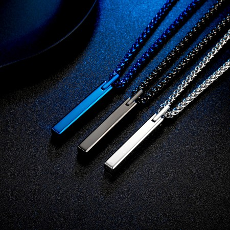 Black or Blue Tungsten Lettering Men Necklace