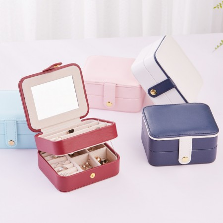 High Quality Jewelry Box Organizer - Women Two Layer Display Storage Case Large PU Leather Jewelry Holder with Lock for Earring Ring Necklace Bracelet