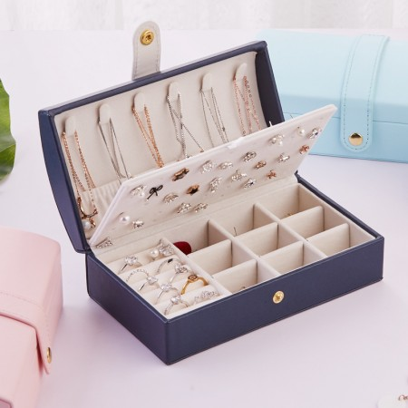 High Quality Jewelry Box Organizer - Women Display Storage Case Large PU Leather Jewelry Holder with Lock for Earring Ring Necklace Bracelet