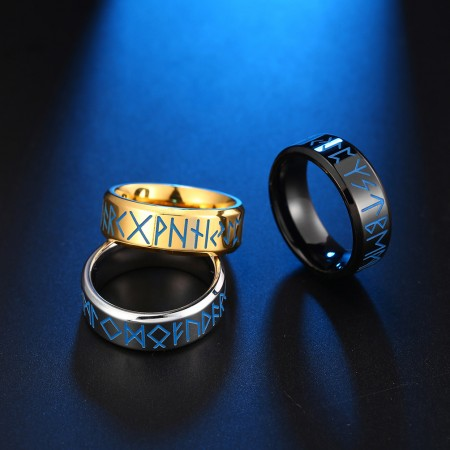 Three Colors Black Silver Gold 8mm Viking Text Totem Luminous Glow Titanium Steel Men's Ring