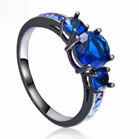 Fine Round Cut Blue Sapphire Lady's Electrophoretic Black Engagement / Wedding Ring