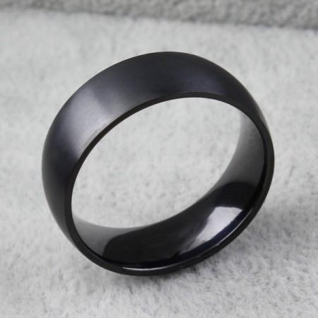 Cool Black Fine Grind Titanium Steel Men's Ring