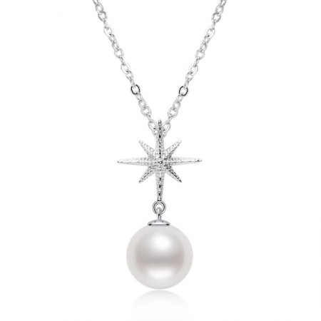 Starfish S925 Sterling Silver Pearl Necklace 7.5-8mm Round Freshwater Pearl Clavicle Chain