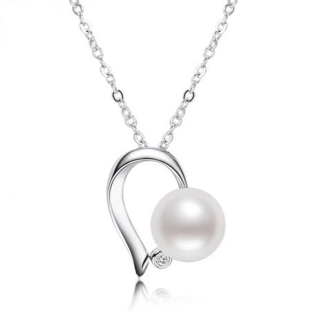 Korean Girl S925 Sterling Silver Love Diamond Pearl Necklace 7.5-8mm White Pearl Pendant