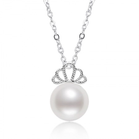 925 sterling silver crown white light round freshwater pearl necklace Japanese and Korean ins wind clavicle chain