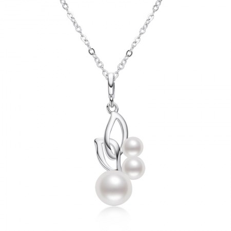 S925 Sterling Silver Japanese and Korean Ins Style Simple Round White Freshwater Pearl Pendant Personalized Pearl Necklace