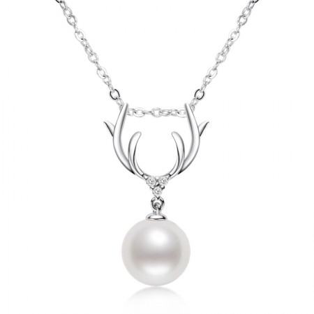 Girly Gold-plated Small Antlers 925 Silver Pearl Necklace 8-8.5mm Freshwater White Pearl Pendant